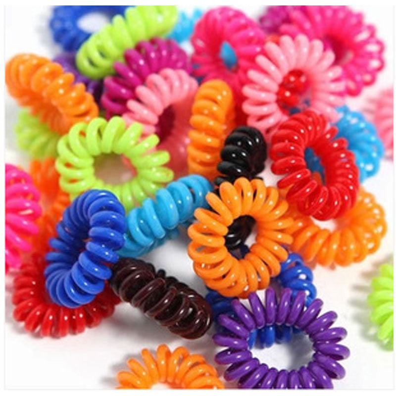 10pcs Candy Color Telephone Cord kids Girl's Hair Ties Head band Hair Strap Elastic Hair Bands Hair Accessories - Shopy Max