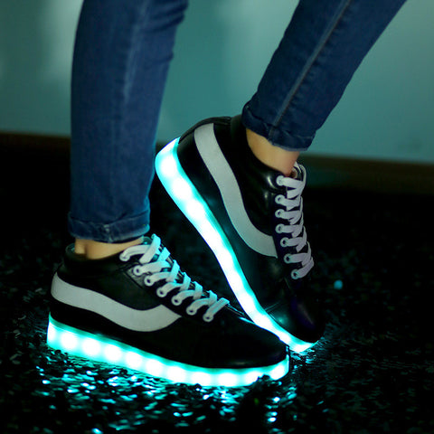 Led Shoes for Adults Fashion Women/Men's Light Up Shoes For Adults Plus Size Black/Red Color Shoes New 2016