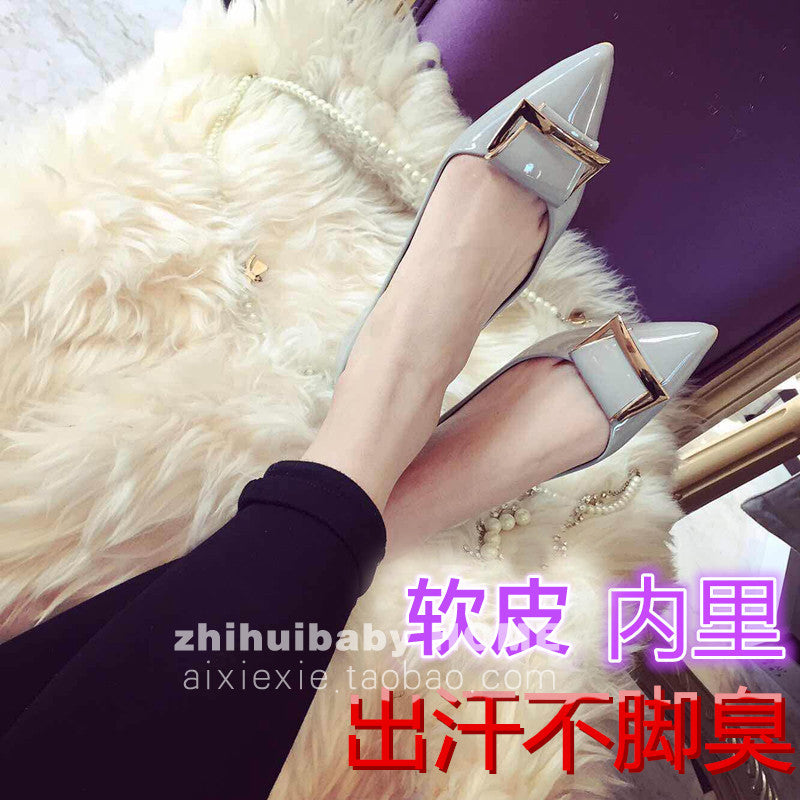 Metal buckle women's spring autumn flat heel shoes women summer shallow mouth pointed toe flats - Shopy Max