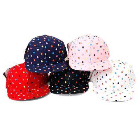 2015 Hot Sale Spirng Women Baseball Caps Cute Colorful Dot Embroidery Hip Hop Snapback