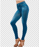 2015 hot selling women's legging blue and black jean girls jeggings with 2 real - Shopy Max