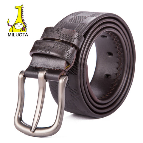 [MILUOTA] 2015 New Men Belt Brand Ceinture Genuine Leather Belt Grid