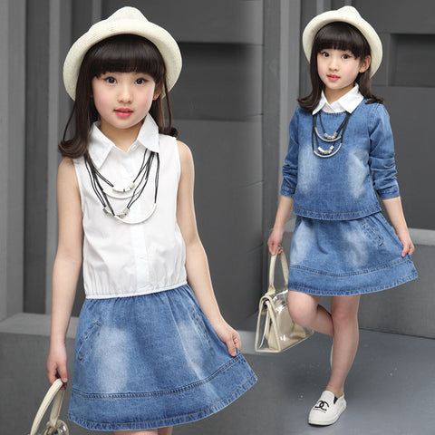 2016 Spring and Autumn new children's clothing girls fashion casual denim skirt two-piece suit
