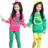 2015 spring girls clothing sets baby kids clothes cotton candy color cartoon outerwear