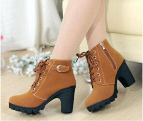 new 2015 high and thick with leisure ladies boots Sponge thick bottom short boots Women's shoes