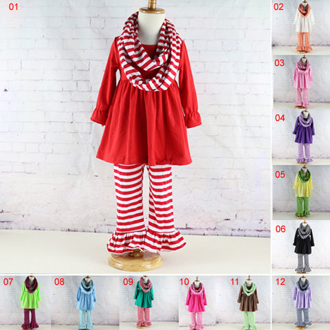12colors 5 sizes Kids girls striped ruffled pants sets long sleeve dress top pants