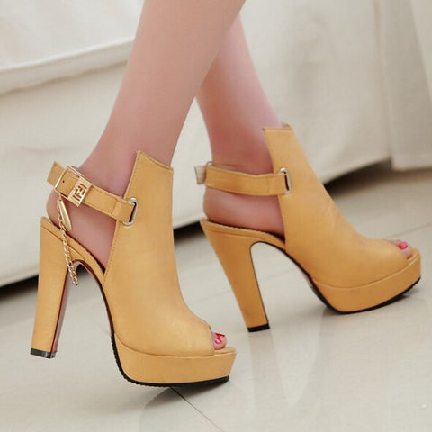 Hot Sale Novelty Women Pumps Autumn Peep Toe Ankle Strap Buckle Party Thick High Heels Ladies Chains Solid Black Shoes