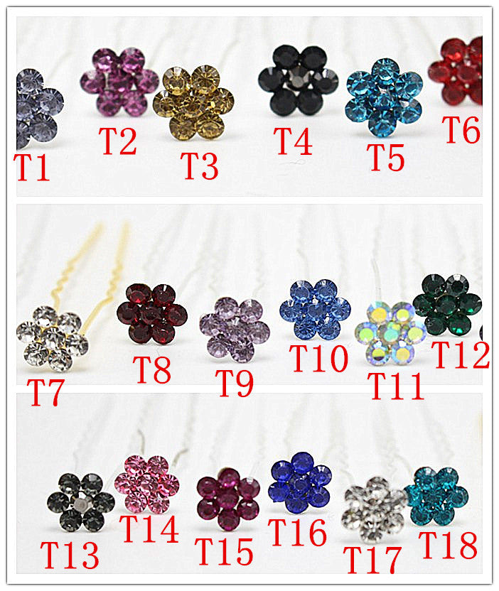 10pcs Hair Pins Multi-color Rhinestone Brides Hair clips Wholesale - Shopy Max