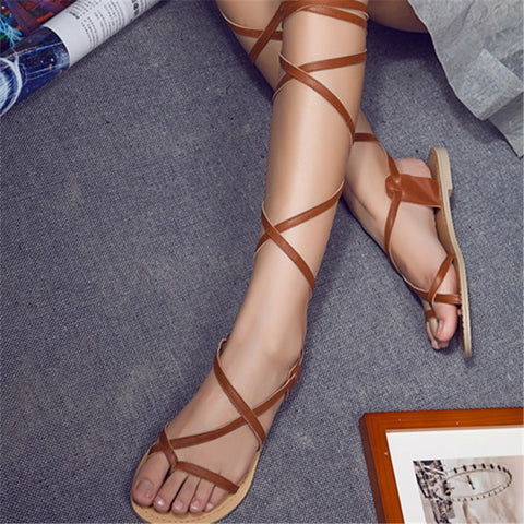 2015 female Cross-tied Full Grain Leather Gladiator casual fashion falst heel gladiator sandals women knee high shoes lady party