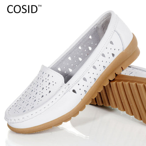 Women Shoes Summer 2016 Genuine Leather Shoes Breathable Women Flats Sweet Casual Mother Walk Hollow Leisure Moccasins BSN-602