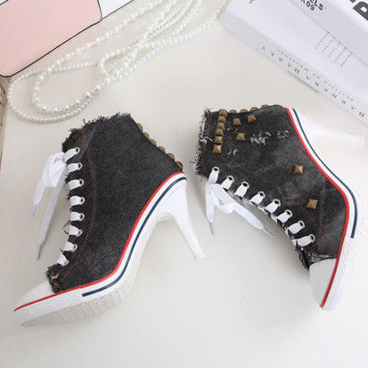 2015 New Spring Women Vintage Lace-Up Canvas High Heels Girl