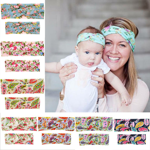 1 Set Mom and baby Turban Headband Pair Set Top Knotted Headband  Fashion