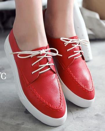 New Fashion ladies lace-up skateboarding shoes pointed Toe flat shoes women's students casual shoes platform shoes Size 34-43