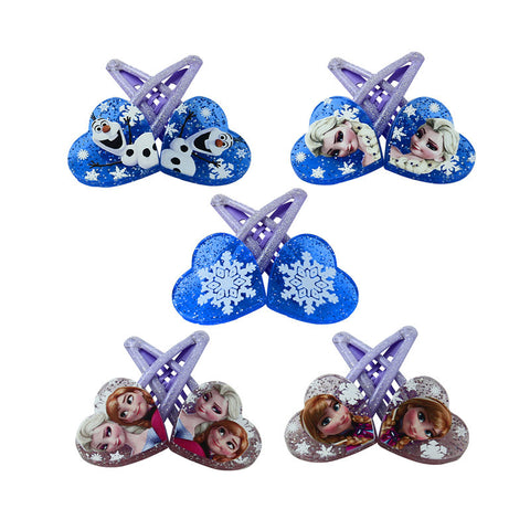 1 pair 5cm Elsa Anna Heart-shaped clip Headwear Female Girls babys Hair Accessory