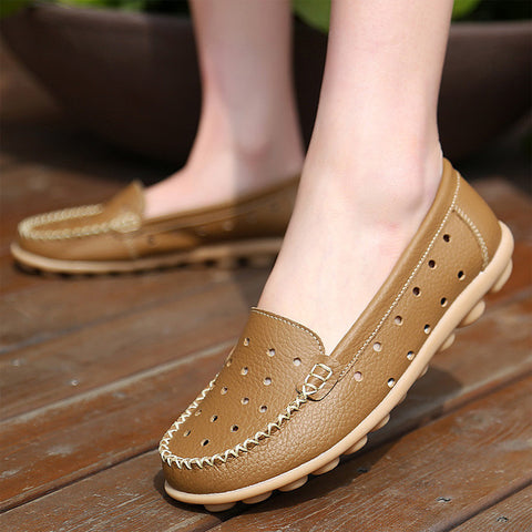 woman shoes Doug shoes hole hole shoes genuine leather flat round toe zapatos mujer 2015 summer style shoes woman