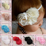 Infant Baby Headbands 2015 Bandeau Cheveux Satin Ribbon Roses Flower