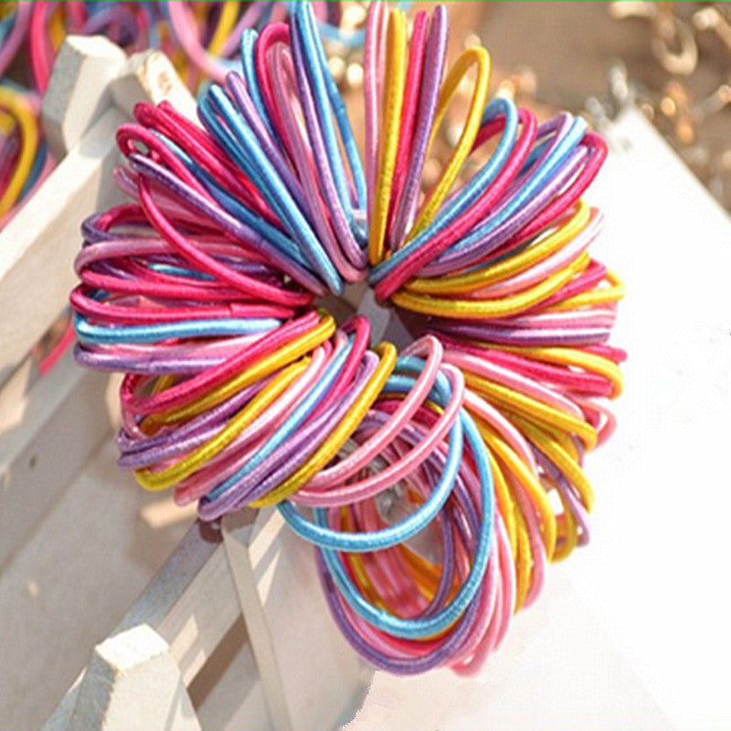 100 Pcs Baby Kids Girl Elastic Hair Bands Ponytail Holder Head Rope Ties NA979 - Shopy Max