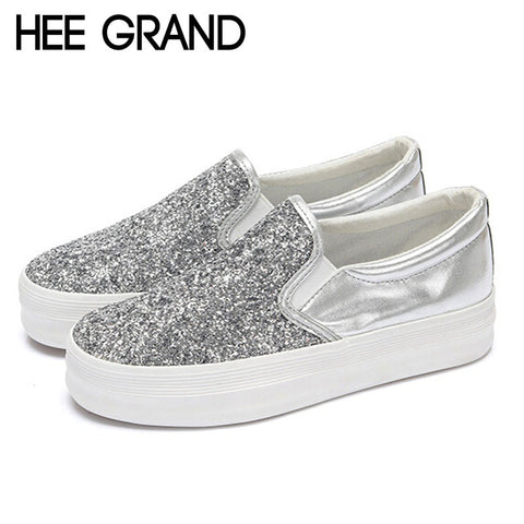 2016 Platform Loafers Fashion Bling Glitter Women Shoes Slip On Flats Ladies