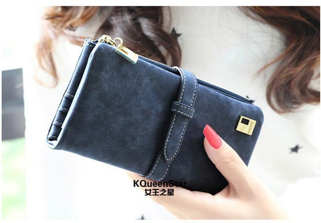 2015 New Fashion Women Wallet Matte Leather 7 Colors Clutch Wallets Ladies Long Clutches Two Fold Coin Purse Card & ID Holder