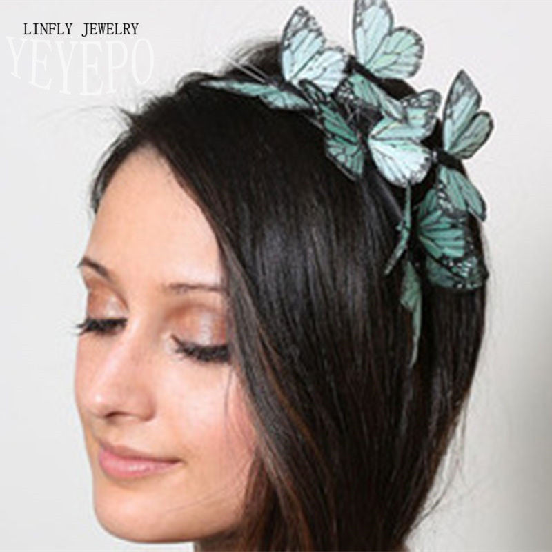 Fashion Jewelry Cloth simulation butterfly hair bands jewelry high quality stereo - Shopy Max