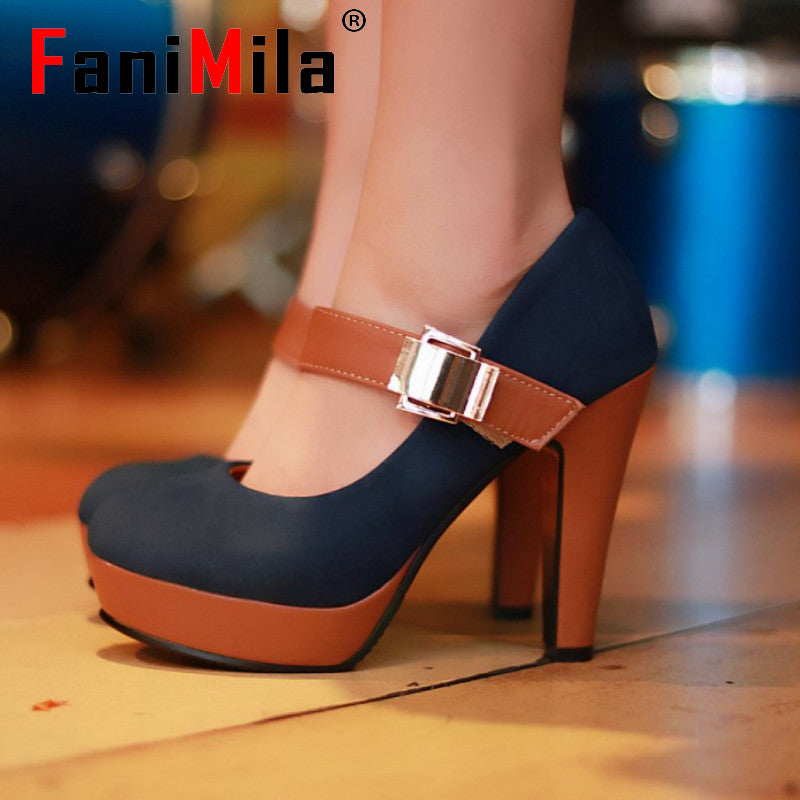 CooLcept free shipping thick high heel shoes buckle women sexy fashion lady