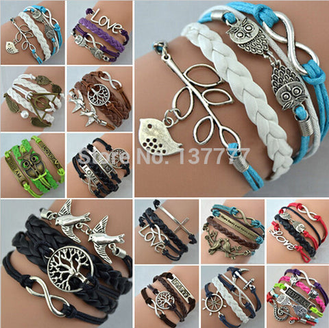 Hot Jewelry Vintage Braided Anchors Rudder Metal Leather Bracelet Multilayer Rope Bracelets Wrap Bracelets Wholesale Bangle