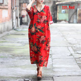 Cotton Linen Plus size Women Dress V-neck Flower print Long Summer Dress Original design