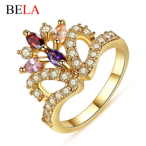 18K Rose Gold Plated Party Rings For Women Colorful Zirconia Diamond Cocktail Ring Princess Crown Rings  Bijoux Femme  WJ1094