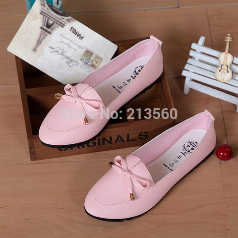 women shoes Trendy Casual Flat Heel Bow Knot Round Toe Slip On Candy Color Loafer Autumn spring Comfortable Shoes Free shipping