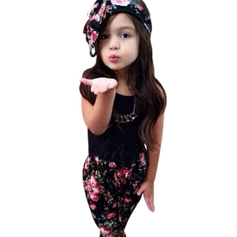 2-7Y Girls Baby Clothing Sets 3PCS Sleeveless Shirt/Tops