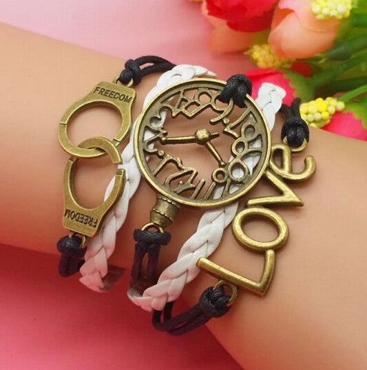 Wholesale 5PCS Bronze Color Fashion Charm Wristwatch And LOVE Bracelets 18 + 5CM DIY Jewelry Free Shipping V315