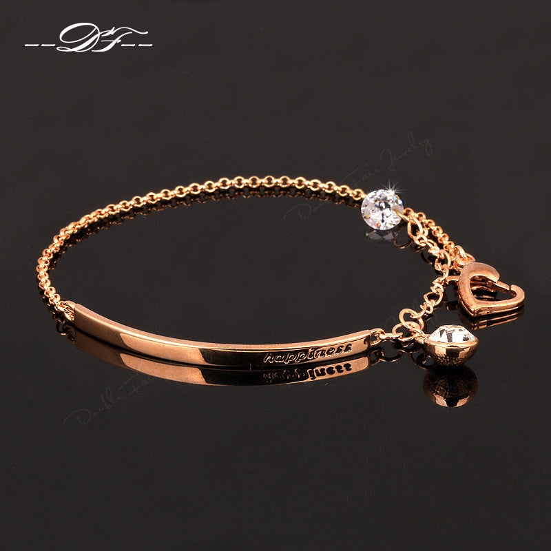 2014 New OL Style AAA+ CZ Diamond Fashion Bracelets & Bangles 18K Gold Plated Crystal Party Jewelry For Women pulseras DFH195