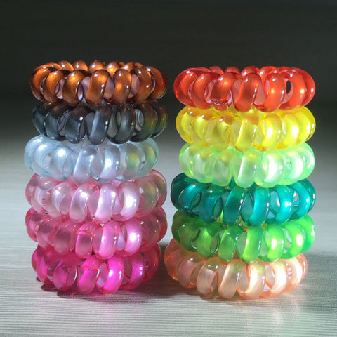 (12pcs) Hot Sale pearl candy color hair scruchies rope for girls elastic telephone wire
