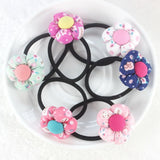 TS 5pcs Pumpkin flowers children baby girls hair accessories rubber bands - Shopy Max