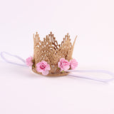 1 PC Baby Headband Rose Flowers Gold MINI Lace Crown Headband Princess Tiara - Shopy Max