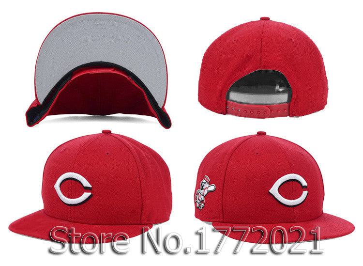 Men s all red adjustable baseball sport team hats side logo Cincinnati  8c39811211f