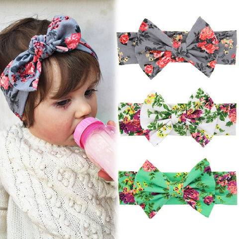 1 PCS Baby Kids Girl Children Toddler Infant Print Flower Floral Bow Hairband Turban
