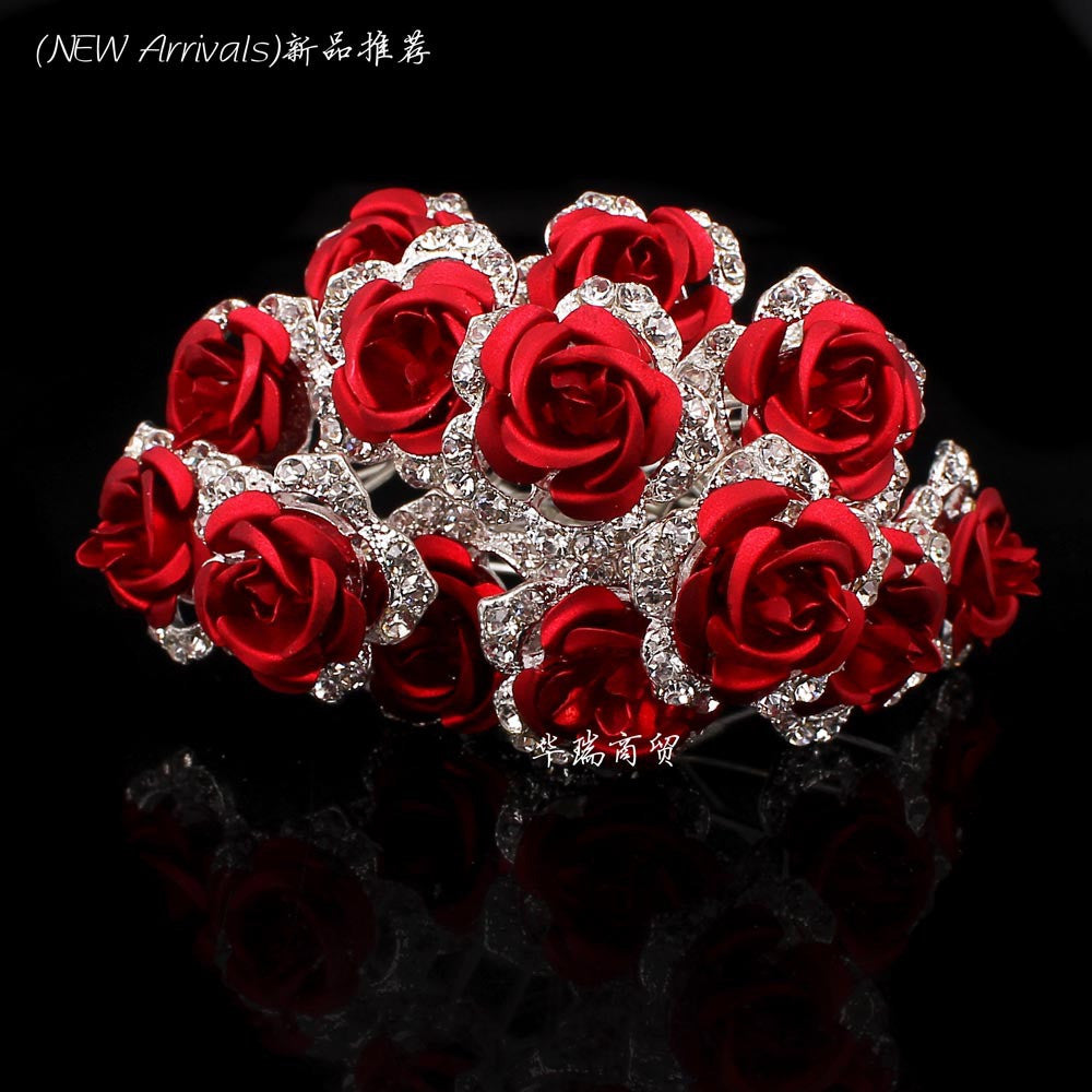 Wholesale 10pcs Red Flower Clear Crystal Rhinestone Women Wedding Bridal Party Hair Accessories HairPins - Shopy Max