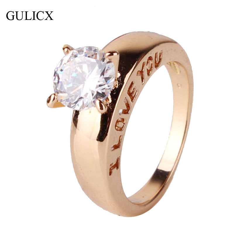 2014 18K Gold Plated Round Cut White Crystal Gold Ring CZ Band Love Engagement Ring For Women Free Shipping (GULILCX R127)