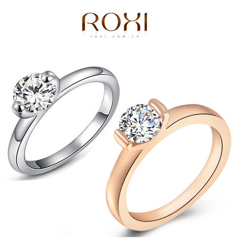 2015 Hot ROXI Ring Fashion Women Engagement Austrian Crystal 24K Rose Gold Plated Full Size Zircon Ring Wedding Bride Jewelry