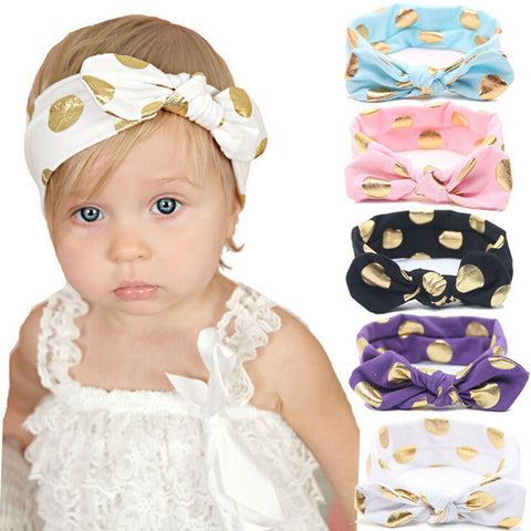 1 PCS Gold Polka Dots Baby Cotton Headband Girls Knotted Bow Head Wraps