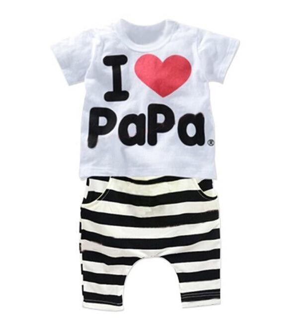 2016 New Summer Children Baby Clothing Sets Kids I love papa mama Clothes Suit  Boys - Shopy Max