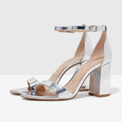 2015 New Chic office lady simple sexy style women fashion sandals thick high heels shoes silver leather ankle strap EURO size BS