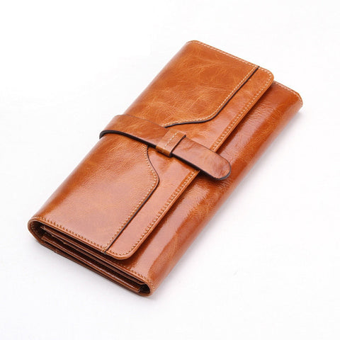 100% oil waxing cowhide wallet for women Long designer drew-string