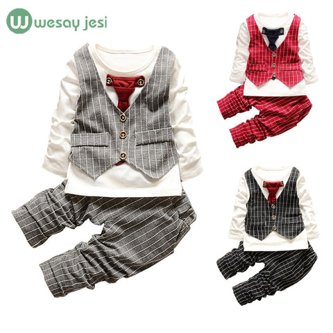 1-3yrs Baby Boys clothes fashion toddler girls set formal suits gentleman 2 Pcs Necktie stripe