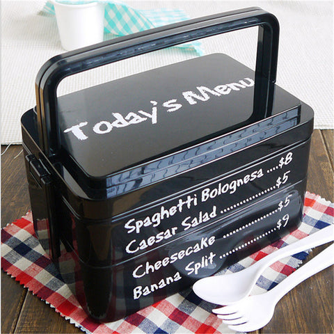 1 Set Creative High Heat Resistance Double Layers Chopsticks Plastic Bento Lunch Box