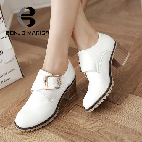 Fashion Women Pumps Roman Style Chunky Med High Heels Buckle Up Wedding Casual Spring Autumn Shoes Round Toe