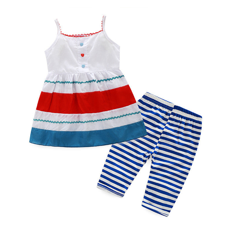Retail 2015 new girls clothing set cute bunny and Butterfly striped cotton t-shirt+ casual pants for summer girls - Shopy Max