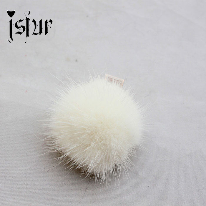 10pcs/Lot Vintage Hairpins Real Mink Fur PomPom Hair Accessories Claw Handmade - Shopy Max