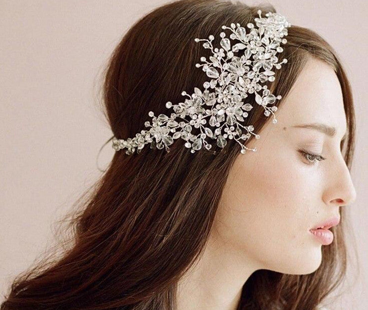 wedding romantic crystal rhinestone flower headband bride high quality  beads handmade hair jewelry bridal hair accessories